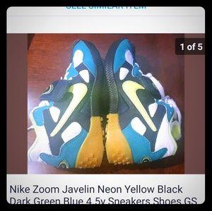 Nike Zoom Javelin neon yellow green 4.5y sneakers